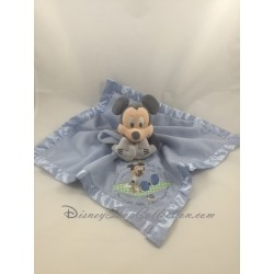 Doudou plat Mickey DISNEY STORE bleu bords satin Mickey et son ourson 33 cm