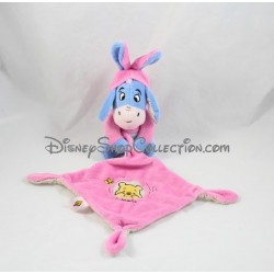 Doudou donkey Eeyore NICOTOY hoodie and pink and blue handkerchief Disney