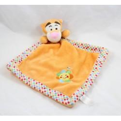 Doudou plat Tigrou NICOTOY orange losange soleil Disney 33 cm