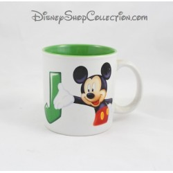 Mug Mickey DISNEYLAND PARIS lettre J tasse céramique blanc vert