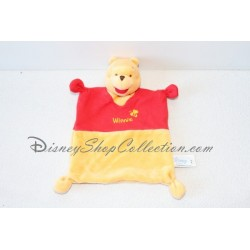 Doudou plat Winnie l'ourson DISNEY BABY carré rouge et jaune velours tissu