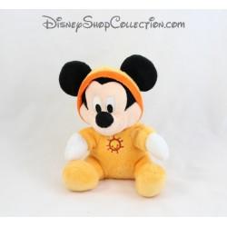 Peluche Mickey DISNEY NICOTOY orange capuche soleil brodé 16 cm