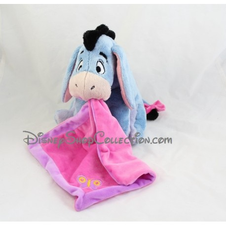 Plush donkey Eeyore DISNEY NICOTOY handkerchief rose in his mouth... 4d1c97fb8