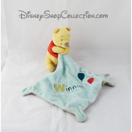 Doudou Winnie l'ourson NICOTOY ballon étoile Winnie mouchoir bleu Disney