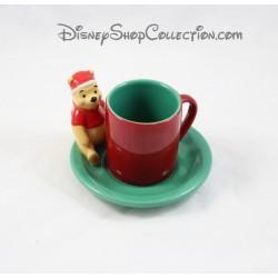 Tasse à café Winnie l'ourson DISNEY STORE Noël avec soucoupe céramique