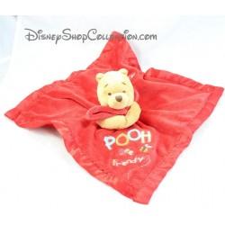 "Doudou plat Winnie L'ourson DISNEY STORE satin rouge "" Pooh bee friendly """