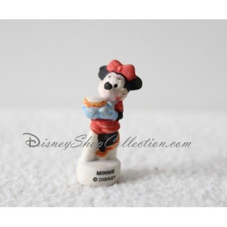 Fève Minnie DISNEY pot dans les mains robe rouge gants bleu