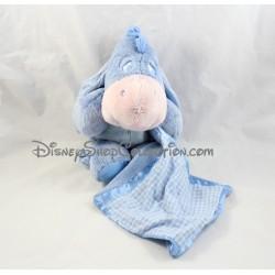 Peluche mouchoir âne Bourriquet DISNEY NICOTOY vichy satin bleu 27 cm