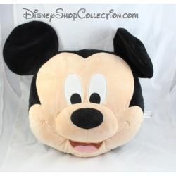 Coussin tête souris Mickey DISNEY STORE grandes oreilles noir beige 45 cm
