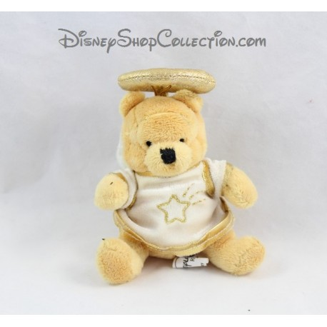 Mini peluche Winnie l'ourson DISNEYLAND PARIS Ange blanc doré 10 cm