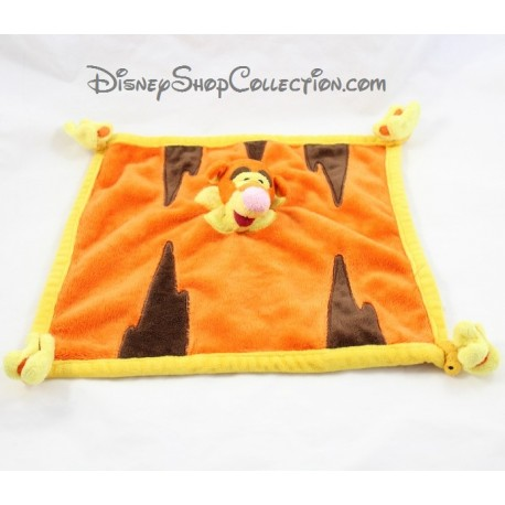 Doudou plat Tigrou DISNEYLAND PARIS Winnie et ses amis orange papillon 27 cm