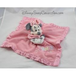 Doudou plat Minnie DISNEY STORE rose pois blanc bords satin 32 cm