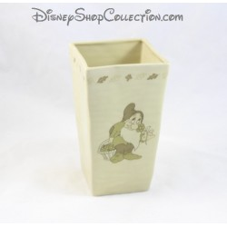 Pot of flowers white - snow DISNEYLAND PARIS beige vase dwarf disney