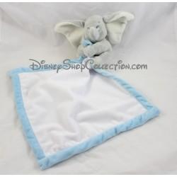 Doudou éléphant Dumbo DISNEY STORE bébé gris mouchoir blanc et bleu