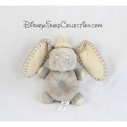 Peluche hochet éléphant Dumbo DISNEY NICOTOY gris grelot 17 cm