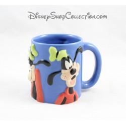 Mug en relief Dingo DISNEY Mickey et ses amis expressions visage 3D bleu 10 cm