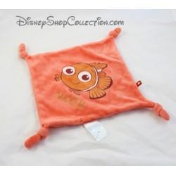 Doudou plat poisson clown Nemo DISNEY CARREFOUR Le Monde de Némo orange carré 4 noeuds 21 cm