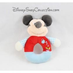 Peluche hochet souris Mickey DISNEY NICOTOY arrosoir radis bleu rouge grelot 15 cm
