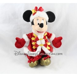 Peluche Minnie DISNEYLAND PARIS noël robe rouge dorée 27 cm