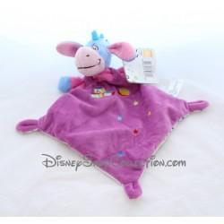 Doudou plat Bourriquet NICOTOY violet cubes Abc ballon étoiles losange Disney
