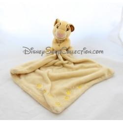 Doudou mouchoir Simba DISNEY STORE Le roi lion jaune empreintes 42 cm