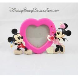 Cadre photo résine DISNEY Mickey et Minnie coeur carte postale 15 cm