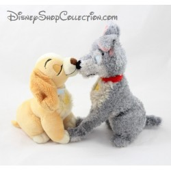 Plush Tramp and Lady DISNEY STORE kisses magnetized mouth beauty and the bum 20 cm