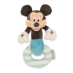 Hochet Mickey DISNEY STORE layette grelot bleu blanc gris 21 cm