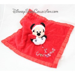 Doudou plat Mickey DISNEY STORE satin rouge Noël My 1st Christmas