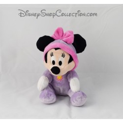 Peluche Minnie NICOTOY Disney assise grenouillére pyjama violet 18 cm