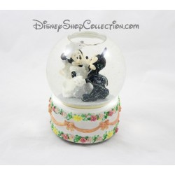 Snow globe musical Mickey Minnie DISNEY mariage Wedding cake boule à neige 22 cm