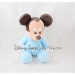 Peluche Mickey DISNEYLAND PARIS bleu gris grelot 22 cm