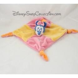 Doudou plat Minnie DISNEY BABY carré rose jaune 4 noeuds 24 cm