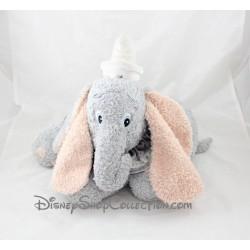Peluche éléphant Dumbo DISNEY STORE gris allongé col gris 33 cm