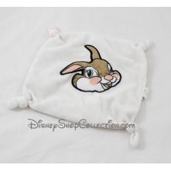 Doudou plat Miss Bunny DISNEY CASINO lapin Bambi blanc carré 4 noeuds 20 cm