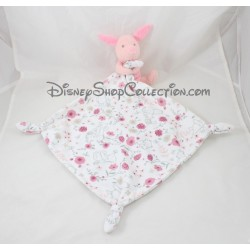 Doudou mouchoir Porcinet DISNEY BABY fleurs noeuds Disney Store 42 cm