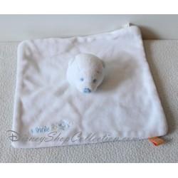 Doudou plat Winnie l'ourson DISNEY BABY Petit Gourou bleu blanc carré