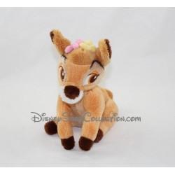 Peluche Bambi DISNEY STORE fleurs sur la tête 17 cm
