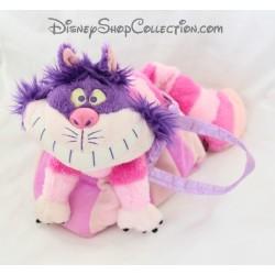 Peluche chat Cheshire NICOTOY Disney Alice aux pays des merveilles sac rose 25 cm