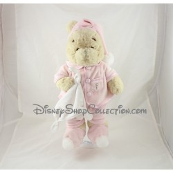 Peluche Winnie l'ourson DISNEY STORE pyjama rose mouchoir 38 cm