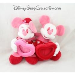 Peluche cadre photo Mickey Minnie DISNEY STORE rouge rose coeur 30 cm