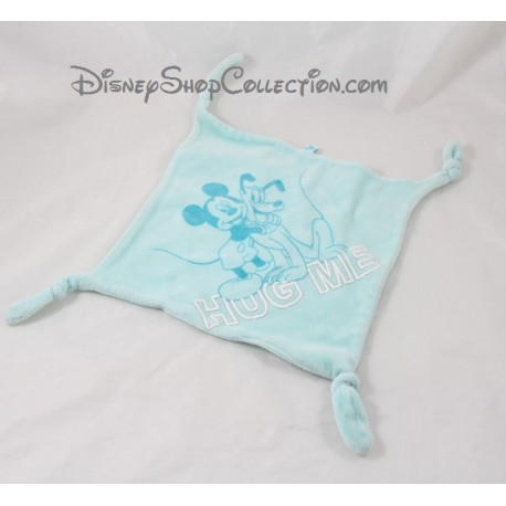 Doudou plat Mickey DISNEY CARREFOUR Hug Me carré bleu ciel 4 noeuds