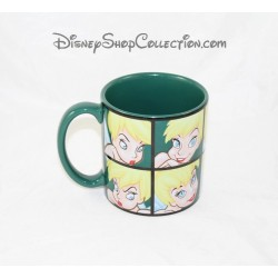 DISNEY Green Tinkerbell mug square several faces