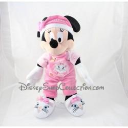 Peluche Minnie DISNEYLAND PARIS pyjama rose chat Marie 40 cm