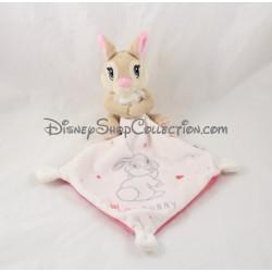 Doudou mouchoir lapin Miss Bunny DISNEY BABY Panpan rose Simba Toys Kiabi coeur 13 cm