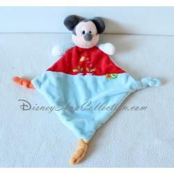 Doudou plat Mickey NICOTOY losange arrosoir radis rouge bleu Disney