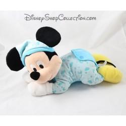 Peluche Mickey DISNEY NICOTOY allongé pyjama bleu phosphorescent lune 30 cm
