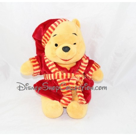 Peluche Winnie l'ouron NICOTOY peignoir rouge robe de chambre Disney 32 cm