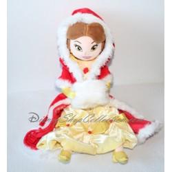 Poupée peluche Belle DISNEY STORE La Belle et la Bête tenue de Noël 50 cm