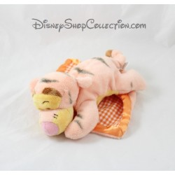 Peluche tigre Tigrou DISNEY NICOTOY vichy satin orange couché 20 cm